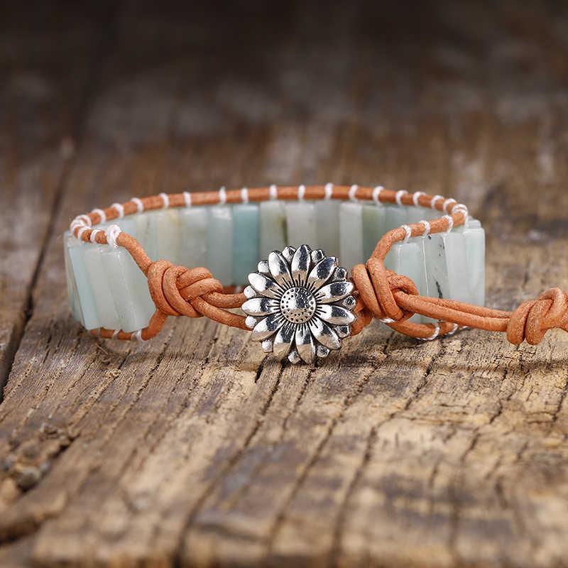 Amazonite naturelle femmes Boho Bracelet Tube forme pierre naturelle unique cuir Wrap Bracelet hommes Semi précieuse pierre perlée manchette