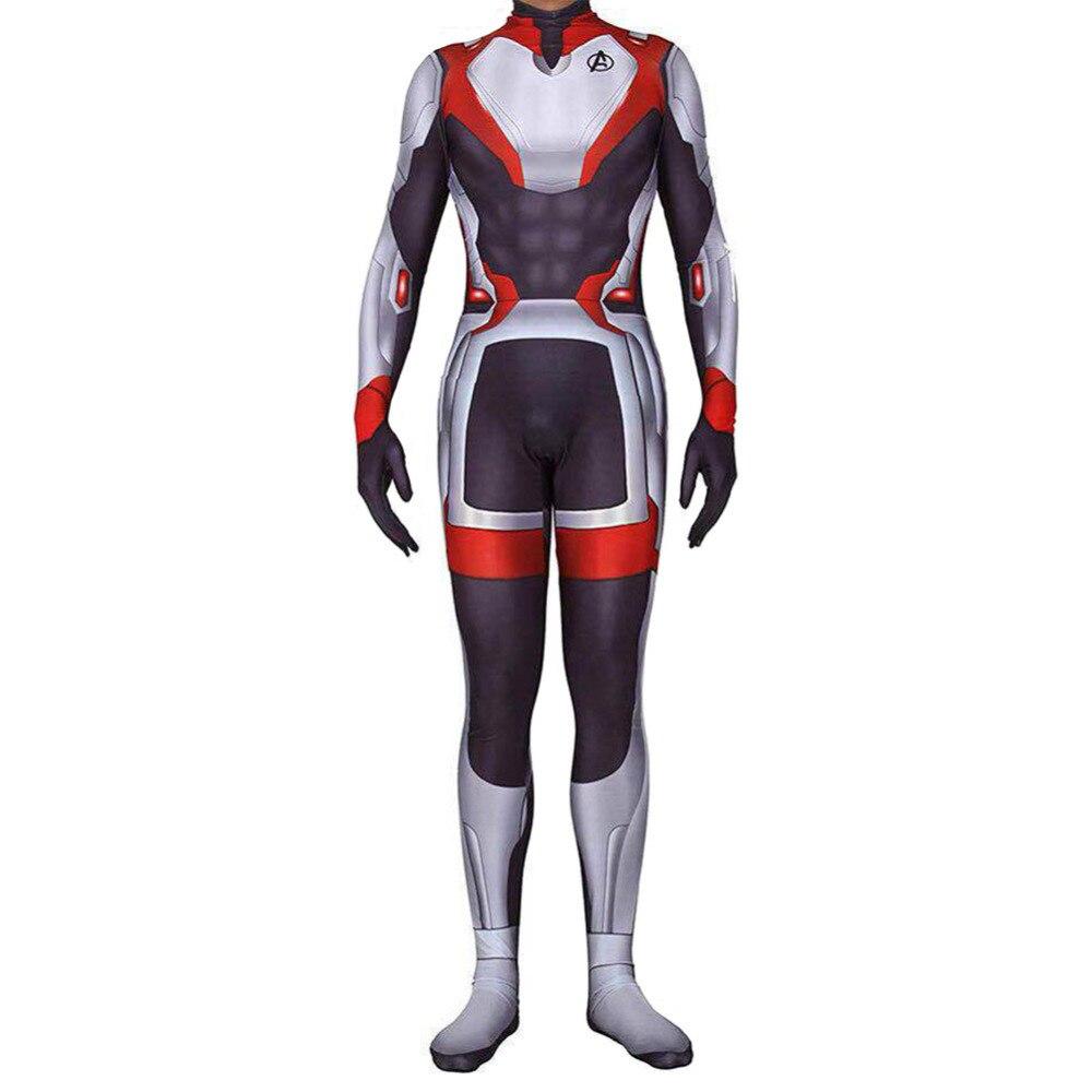 Superhero Avengers Endgame Tech Jumpsuit Adult Men 3D Bodysuit Halloween Costume Lycra Suits