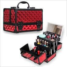 HHYUKIMI organizador de maquillaje con marco de aleación de aluminio para mujer, estuche/bolsa de cosméticos con espejo, maletas de viaje de gran capacidad