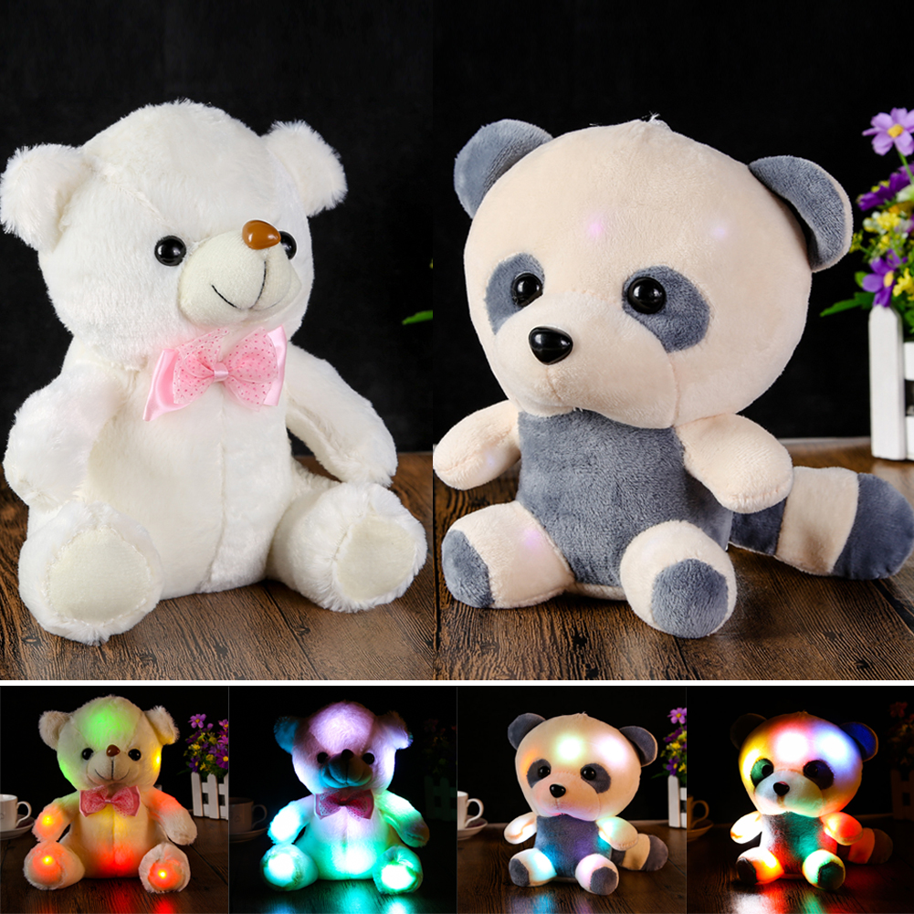 Large Cute Plush LED Panda Teddy Bear Doll New Year's Gift Colorful Rainbow Flash Light Children Girl Toy cartoon panda i love you dress style glasses panda large 70cm plush toy panda doll throw pillow proposal christmas gift x025