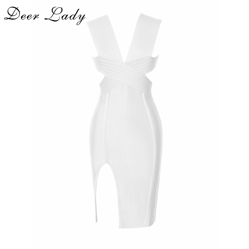 Deer Lady Bodycon Bandage Dresses 2017 New Arrivals Summer Deep V Neck Backless Women Sexy White Bandage Dress Rayon Yellow Club