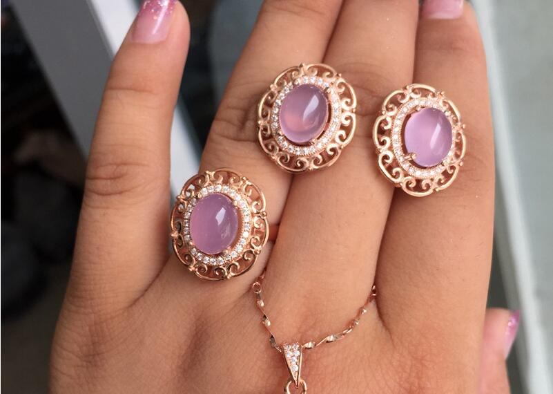 KJJEAXCMY Boutique jewels 925 pure silver inlaid natural Hibiscus Stone Earrings + ring set.