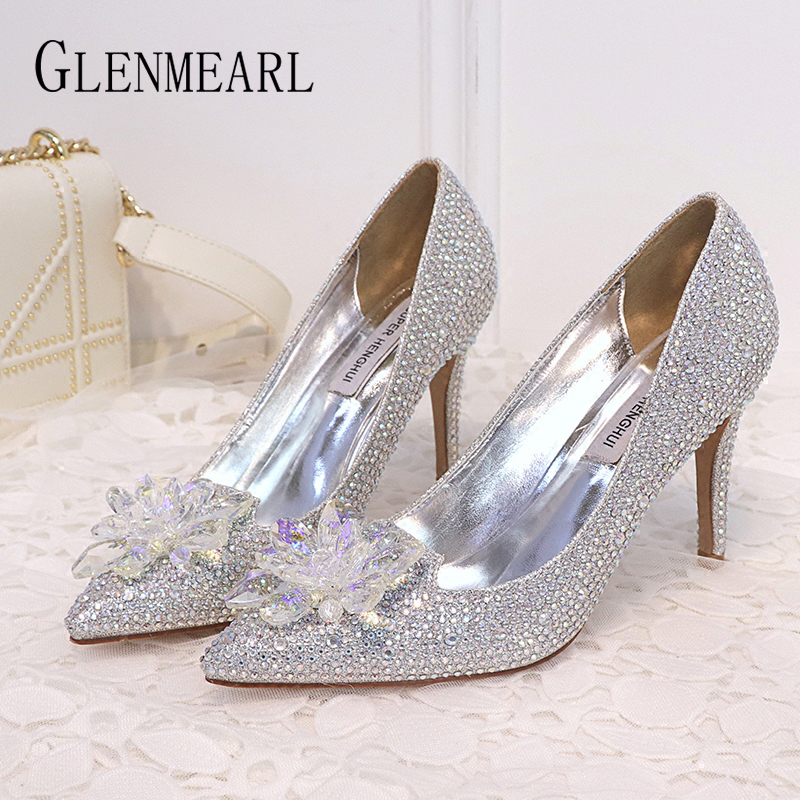 Woman Wedding Shoes High Heels Rhinestone Brand Women Pumps Luxury Pointed Toe Spring Summer Cinderella Shoes Crystal Sliver DE