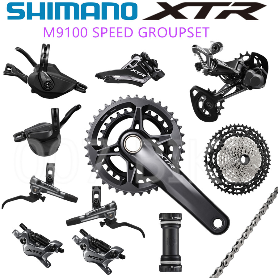 SHIMANO DEORE XTR M9100 groupe vélo vtt 2x12-Speed M9100 dérailleur arrière XTR Cassette de changement de vitesse 10-45 T M9120 groupe de frein
