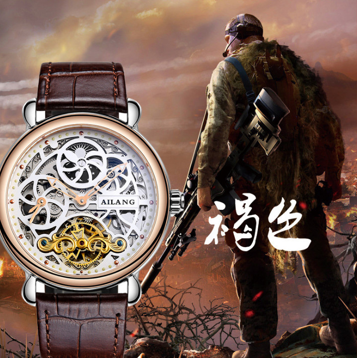 Vintage Designer Skeleton Face Men Antique Mechanical Watches Self-wind Tourbillon Wrist watch Moon Phase Leather Relojes W009 ks black skeleton gun tone roman hollow mechanical pocket watch men vintage hand wind clock fobs watches long chain gift ksp069