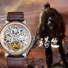Vintage Designer Skeleton Face Men Antique Mechanical Watches Self-wind Tourbillon Wrist watch Moon Phase Leather Relojes W009