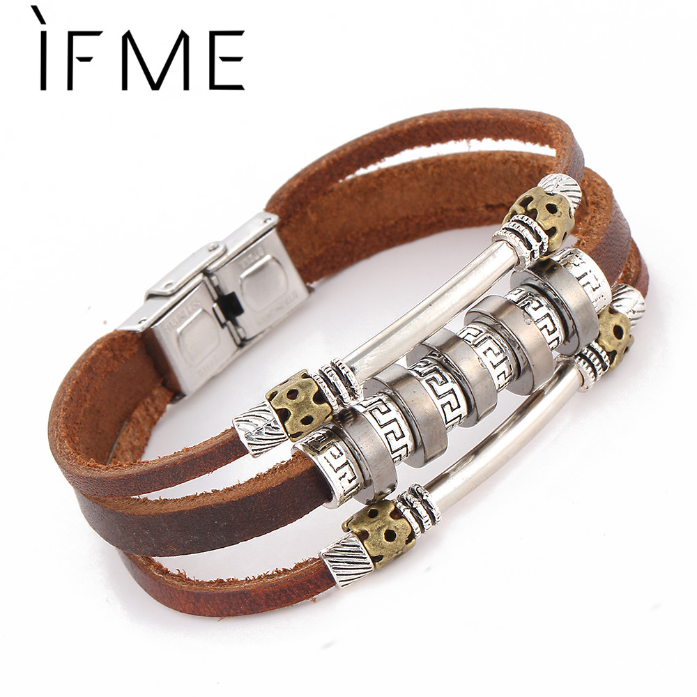 Leather Bracelet With Charms: IF ME New Punk Multilayer Leather Bracelet Fashion Retro