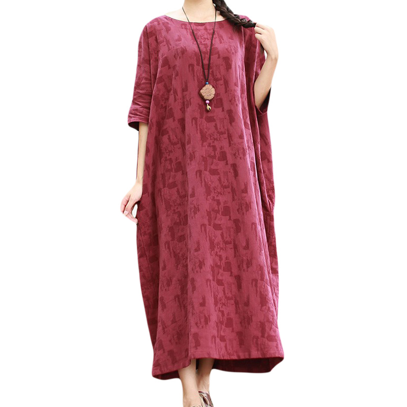 598558df0e14 Plus la Taille Femmes Vêtements Fluide Impression Thé Robe Kimono Dashiki  Robe hiver T-shirt Robe Robe Longue Femme Plaid Imprimer Une ligne