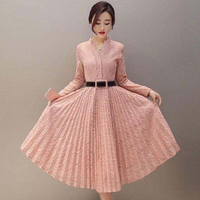 Mode printemps style coréen culture robe simple boutonnage à manches longues dentelle plissée support décontracté robes de grande taille