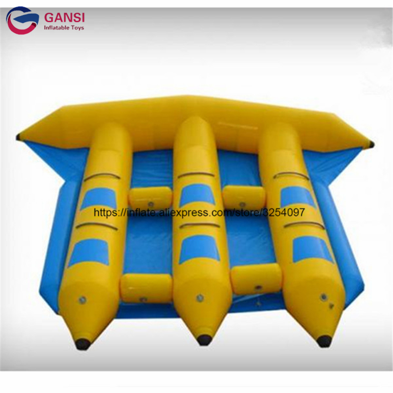 Funny water sport game 0.9mm PVC tarpaulin fly fish boat,exciting towable inflatable fly fish banana boat for sale free shipping 3 3 1 2m water banana boat for sport games