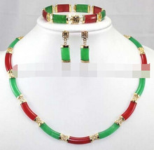 Schmuck 001420 Echt Red & Green Jade Link Halskette Armband ohrringe Set AAA(China)