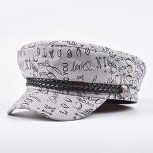 Military-Hat Cadet-Hat Captain-Cap Flat-Top Black Women Spring Cotton for Grey Female