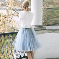 Fashion Gray Blue Tulle Elastic Women Causal Mesh Skirt Saia Faldas Bow Sashes Vestidos Cheap Summer Skirts for Girl Adult Style