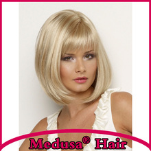 Medusa hair products: Classic page boy styles Synthetic wigs for women Medium length straight blonde bob wig with bangs SW0020