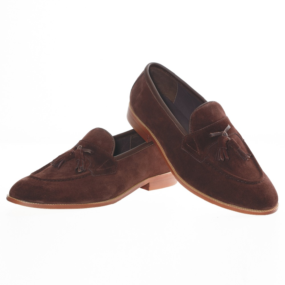 New British Mens Brown Leather Tassel Loafers Shoes Prom Suede Men Dress Shoes Fashion Casual Slippers Men's Flats Size 6.5-13 zdrd new fashion genuine leather men business casual shoes british low top lace up suede leather mens shoes brown red men shoes