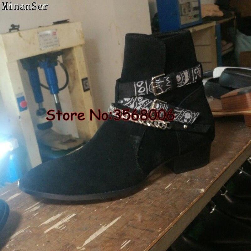 Chaîne en métal boucle sangle hommes Chelsea bottes bout rond sans lacet en cuir véritable daim haute qualité homme bottines chaussures talons bas-in Bottes chelsea from Chaussures    3
