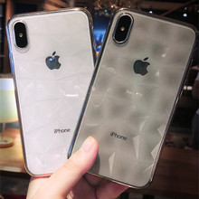 Luxury 3D Diamond Texture Case For iPhone 7 6 6S 8 Plus Ultra Thin Clear Soft TPU Cover For iPhone X XR XS MAX Transparent Case cafele luxury case for iphone 7 8 plus crystal clear tpu soft case cover for iphone 8 7 plus ultra thin