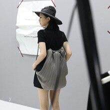 Оригинальный дизайн 2 способ сумка chic плиссированные нажатии матч рюкзаки черный и серый сумка