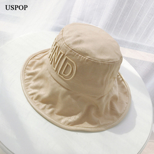 USPOP 2019 New summer hats for women 3d letter embroidery bucket casual anti-uv shaping wire brim sun