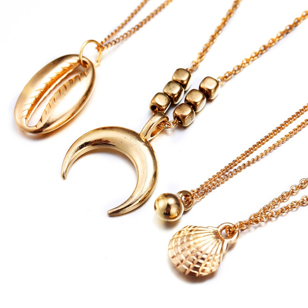 HOMOD Bohemian Shell Multi layer Necklaces For Women Girl Fashion Gold Sliver Color Long Moon Pendant Necklace Collar Jewelry in Pendant Necklaces from Jewelry Accessories