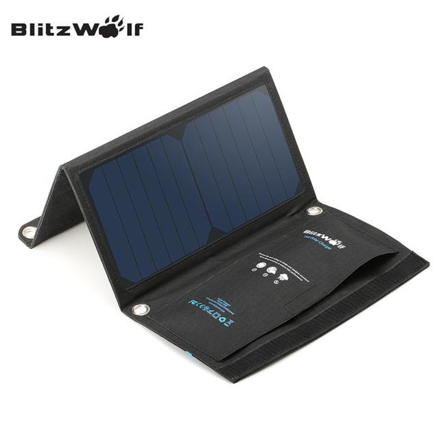 Blitzwolf 15 w sunpower dobrável portátil dual usb 2a carregador da célula solar painel com power3s para iphone 6 s/6/plus para ipad air