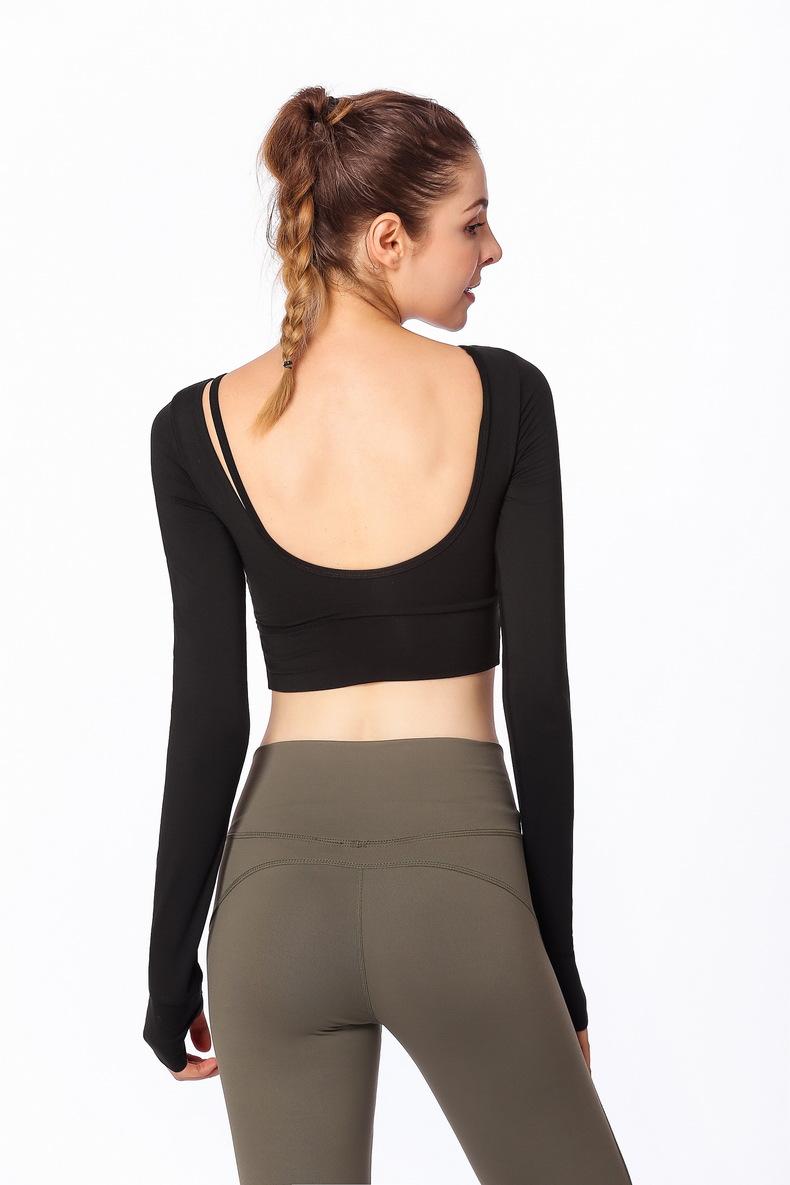 2ea3a8adb4f 2019 Drop Sexy Ombre Crop Top Yoga Shirts For Women Long Sleeve ...