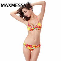 MAXMESSY Sexy Retro Floral Printing Chested Bikini With Breast Pads With Steel Support Halter Neck Backless