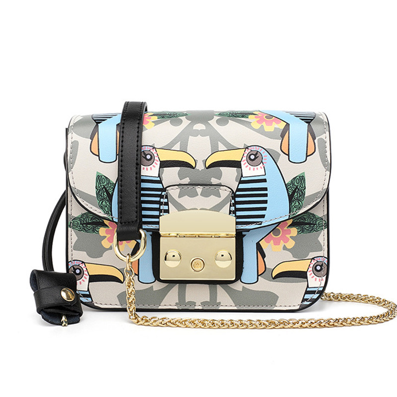 2019 Newest Animal Graffiti Chain Shoulder Messenger Bags High Quality Genuine Leather Women Clutch Purses Flap leather handbags2019 Newest Animal Graffiti Chain Shoulder Messenger Bags High Quality Genuine Leather Women Clutch Purses Flap leather handbags