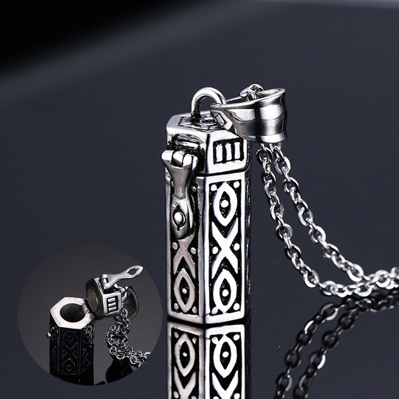 Mprainbow Men Necklaces Tubular Openable Remembrance Jewelry Stainless Steel Pendant Unise
