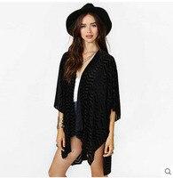Newest Women'S Wavy Stripes Loose Sleeveless Chiffon Blouse Fashion  Cardigan Sun Shirt    Long Summer Puff Sleeves Shirts S1955