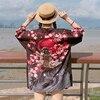 2017 Summer Floral Japanese Kimono Cardigan Female Blouse Women Loose Shirt Harajuku Jiu Jitsu Kimono Maxi