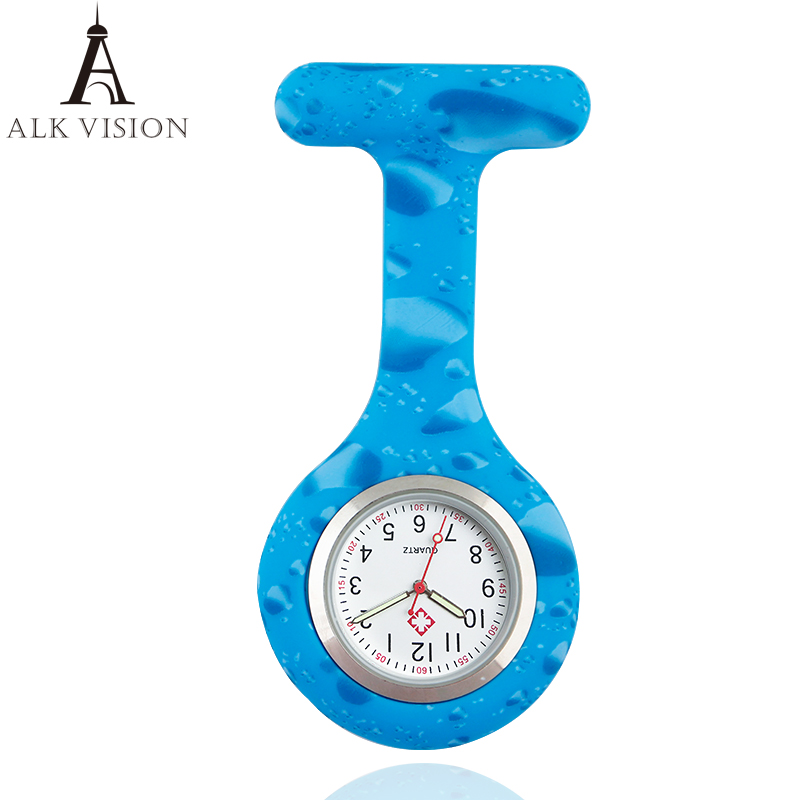High Quality Color Silicone Watch Nurse Fob Pocket Watch Hospital Gift Nursing Watches Quartz Brooch Hospital Clock ALK VISION