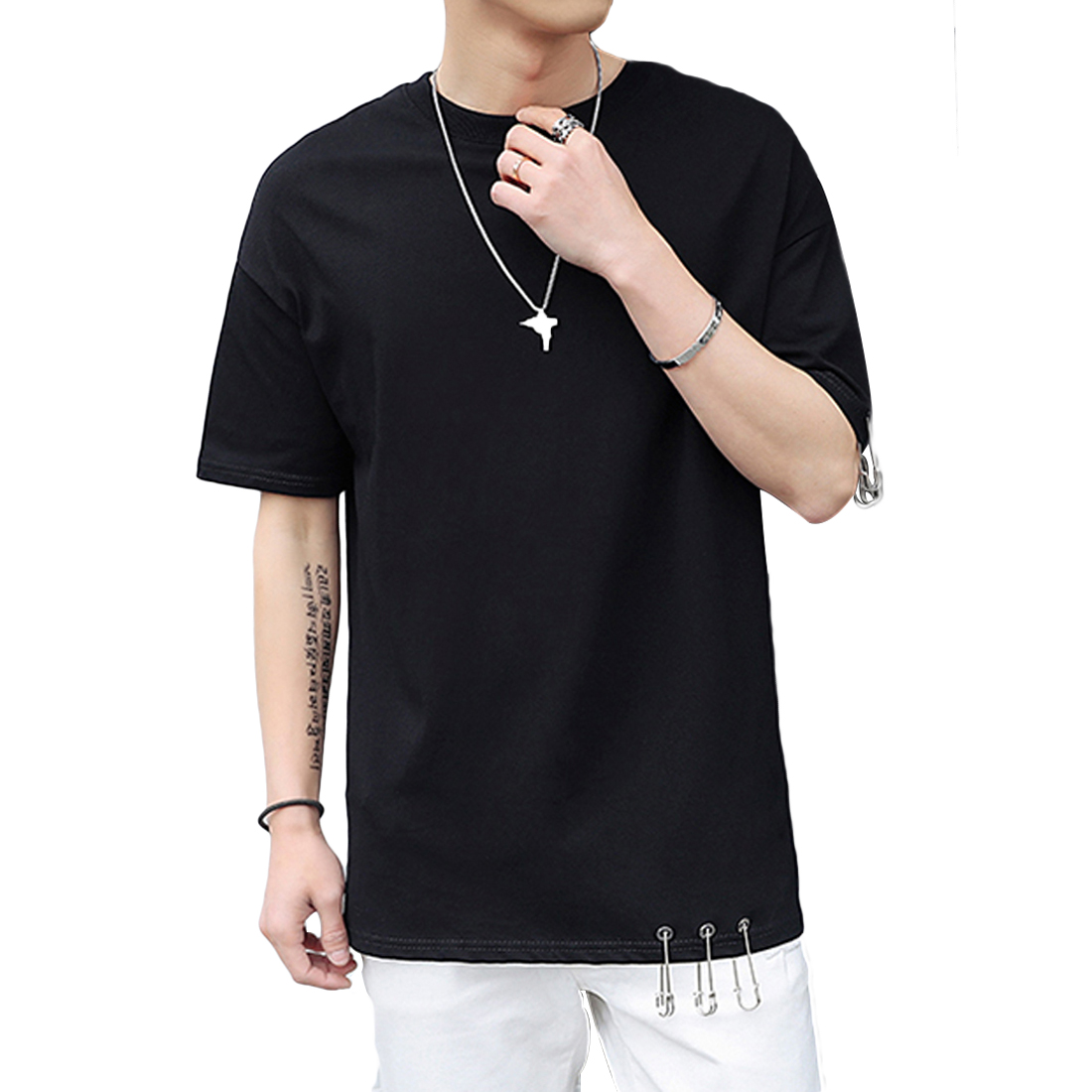 Black t shirt white cross on back - Cool T Shirt Back Criss Cross Lace Up Patchwork Youth Loose Fit T Shirt Short Sleeve