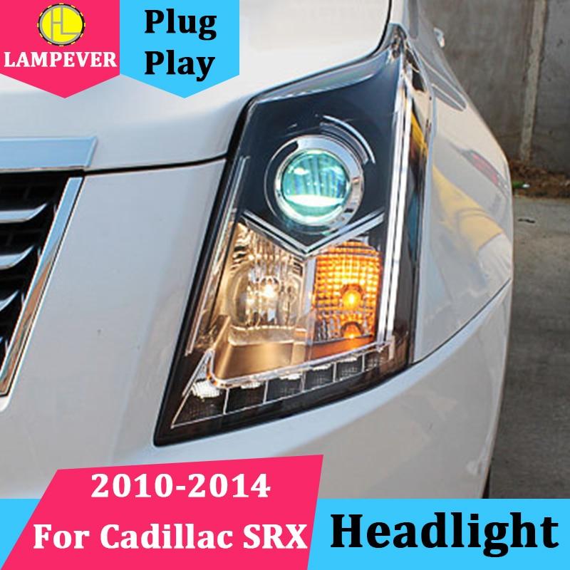 Lampever Car for Cadillac SRX Headlights 2010 2014 SRX LED Headlight DRL Lens Double Beam H7 HID ...