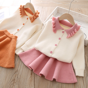 Image 3 - Conjunto de ropa para niña, modelos de otoño e invierno 2019, versión coreana de manga larga de solapa, traje de una sola botonadura, conjunto de ropa para niña