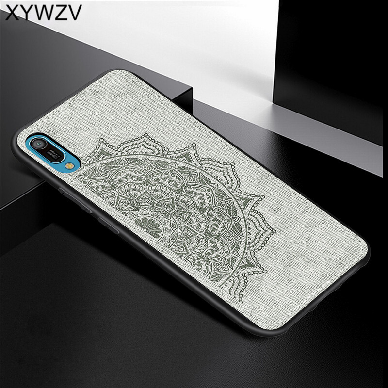 Huawei Y6 Pro 2019 Shockproof Soft TPU Silicone Cloth Texture Hard PC Phone Case For Huawei Y6 Pro 2019 Cover Huawei Y6 Pro 2019-in Fitted Cases from Cellphones & Telecommunications