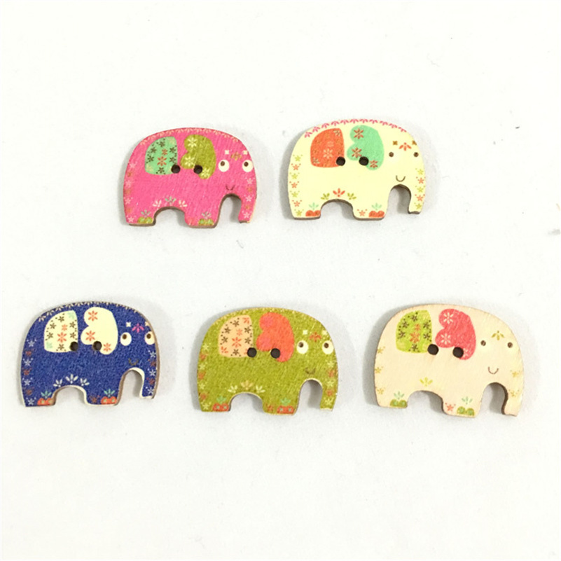 Wooden animal buttons Sewing scrapbooking Elephant buttons decoration 28mm