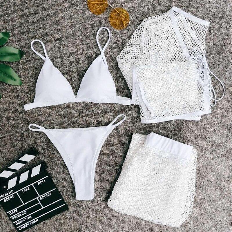 Image 5 - In X Mesh 4 piece swimsuit female Sexy see through bikini 2020 Long sleeve crop top Bikini with pants White swimwear women newBikini Set   -