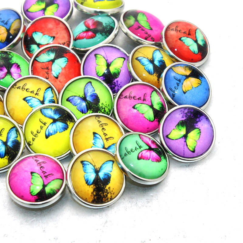 10 pcs/lot Mixed Colors Lovely Art Butterfly 18mm snap button Jewelry Faceted glass Snap Fit snap Bracelet Button Jewelry 031004