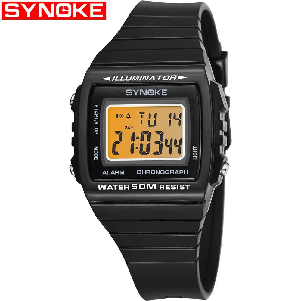 SYNOKE Men Sports Watches Waterproof Digital Watch Chronograph Shock Double Time Wristwatches For Gift Mens 9708