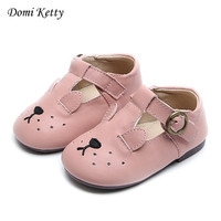 Domi Ketty New Children Shoes Cute Animal Patterns Girls Flat Shoes Baby Toddler Soft Footwear Kids