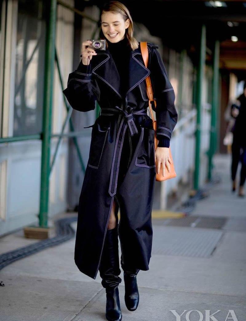 Manteau Turn Trench Avec Chaud Ceinture Femmes Denim H8740 Collar Nouveau Designer Mode down QrBxotshdC