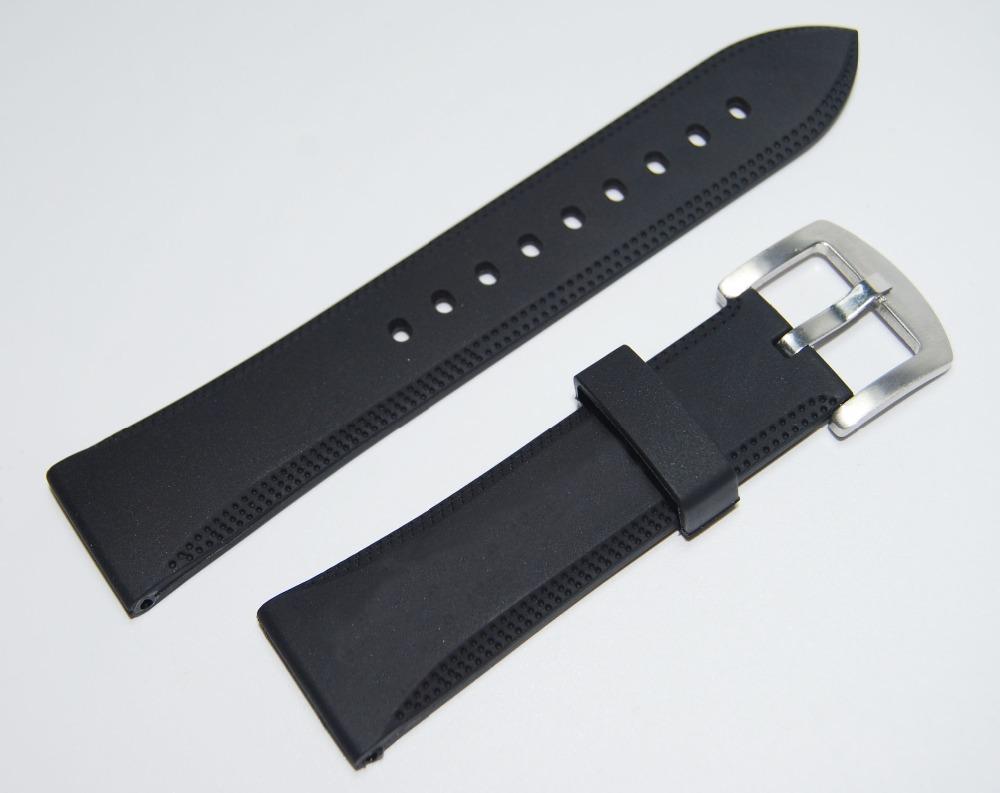 Prix pour 23mm NOIR En Caoutchouc de Silicone bande de Montre Plongée Sport Étanche Souple Sangle Bracelet Pour AR0584 AR0595 AR0593