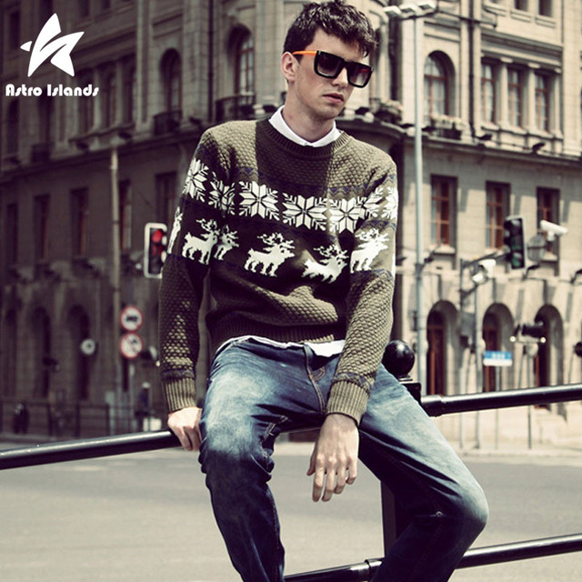 2016 Autumn Winter Christmas Sweater Men Thick O-Neck Knitted Pullovers Reindeer Printed Sweaters Casual Brand Clothing LW169