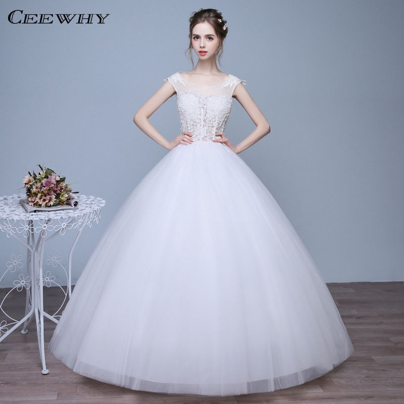 Cute Wedding Gown: Sexy Backless O Neck Sleeveless Tulle Corset Wedding Dress