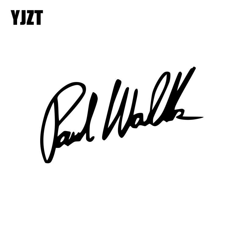 YJZT 13CM*8CM PAUL WALKER Fashion Vinyl Decal Car-styling Car Sticker Black/Silver Accessories C11-0497