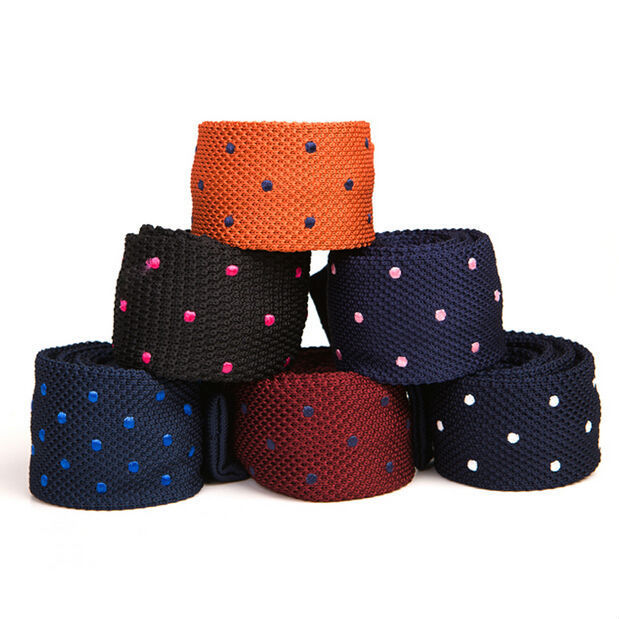 Knitted Tie Polka Dots Crew Cut 2015 New Skinny Ties Woven Microfiber Slim Narrow Cravatta Gift For Men Knitted Tie Polka Dots