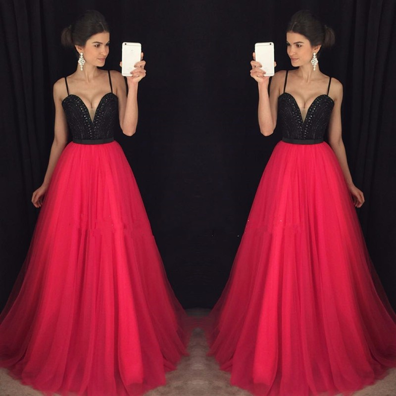 Gorgeous Spaghetti Straps Beaded Crystal Hot Pink Fuchsia Prom Dresses Long Sexy Prom Dress Black Girl Homecoming Gowns 2019