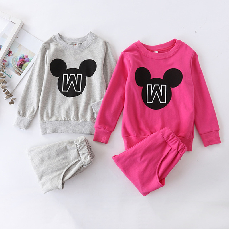 Baby Boys girls Mickey Clothes Spring Autumn Cartoon Long Sleeve T-shirts + Minnie Pants Children Clothes Kids Sweatshirt Suits