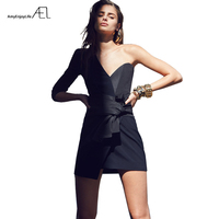 AEL Asymmetric Chest Dress Suit Women Minidress 2018 Summer Dresses Sexy Chic Off Shoulder Femme Quality Clothing